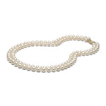 AAA Quality White Double Strand Freshwater Pearl Necklace, 7.5-8.0mm