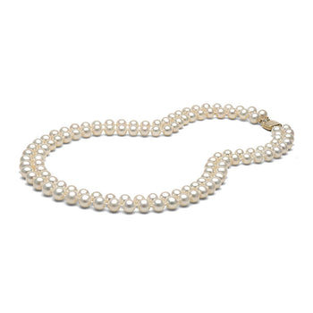 AA+ Quality 7.0-8.0mm White Double Strand Freshwater Cultured Pearl Necklace