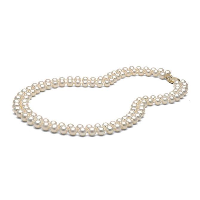 AA+ Quality White Double Strand Freshwater Necklace, 7.5-8.0mm