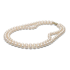 AA+ Quality 8.0-9.0mm White Freshwater Double Strand Cultured Pearl Necklace