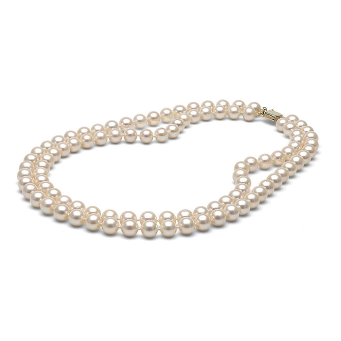 AAA Quality White Freshwater Double Strand Pearl Necklace, 8.5-9.0mm