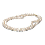 AAA Quality 8.0-9.0mm White Freshwater Double Strand Cultured Pearl Necklace