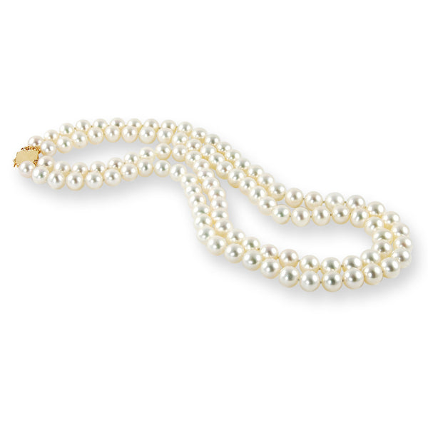 AAA Quality 9.5 to 10.5mm White Double Strand Freshwater Cultured Pearl Necklace