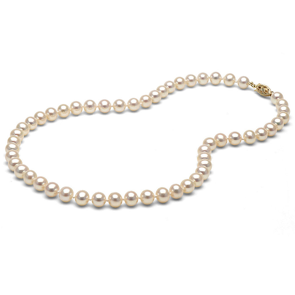 AA+ Quality 6.5-7.0mm White Freshwater Cultured Pearl Necklace
