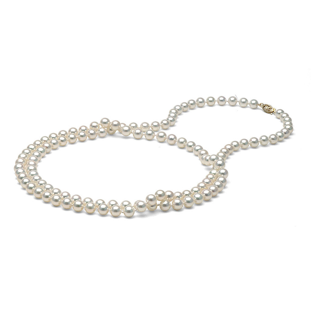 AAA Quality 6.0-7.0mm White Freshwater Pearl Necklace - Rope Length