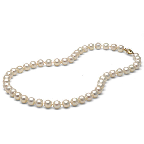 AA+ Quality 7.0-8.0mm White Freshwater Cultured Pearl Necklace