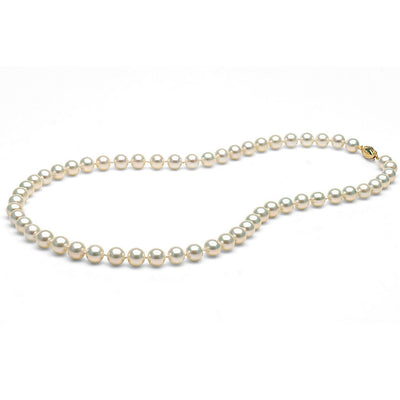 White Freshwater Gem Grade Pearl Necklace, 7.5-8.0mm