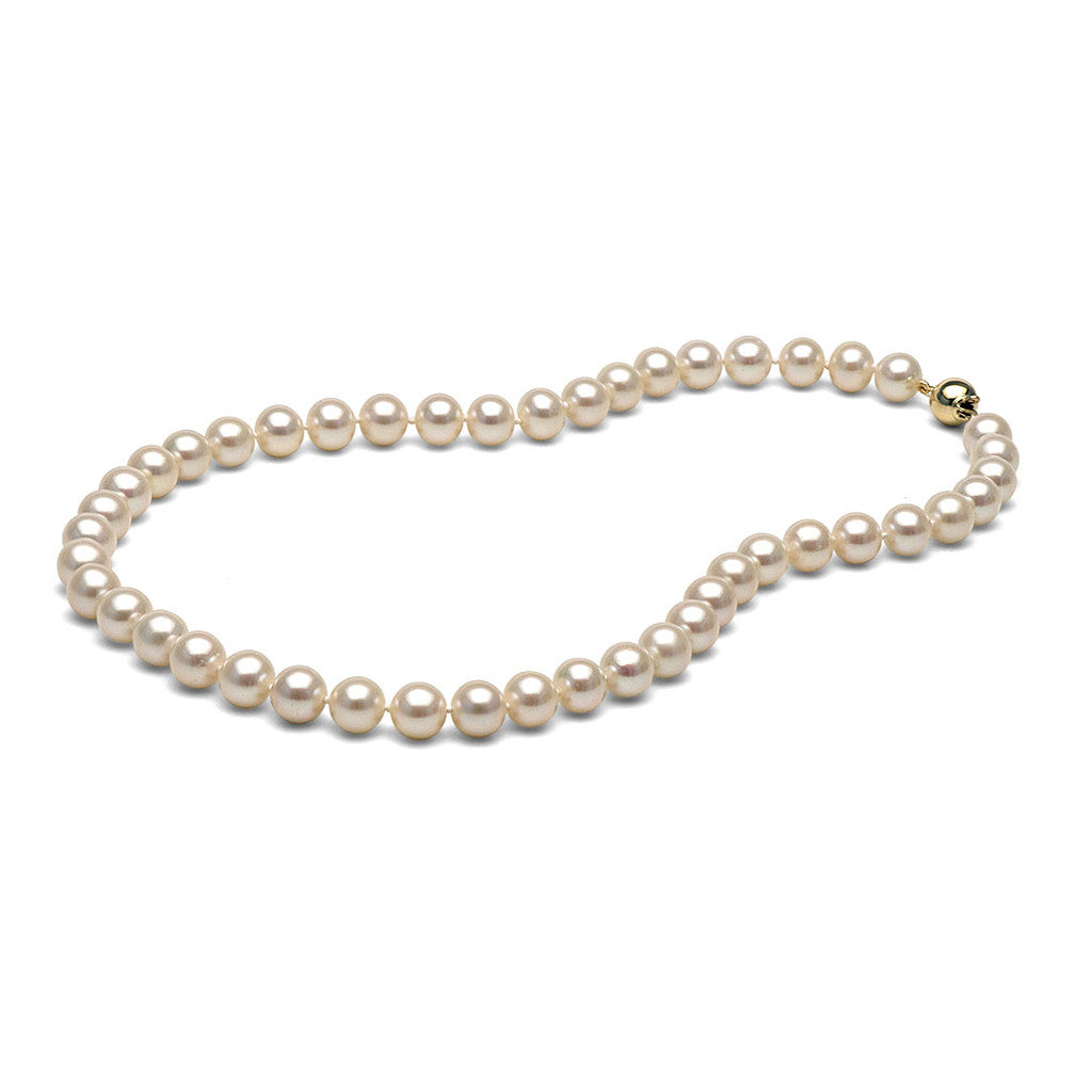 AAA Quality 8.0-9.0mm White Freshwater Cultured Pearl Necklace