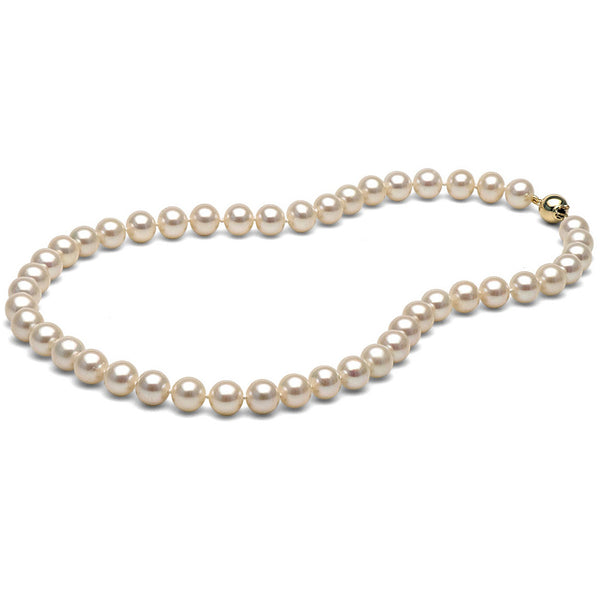 AA+ Quality 8.0-9.0mm White Freshwater Cultured Pearl Necklace