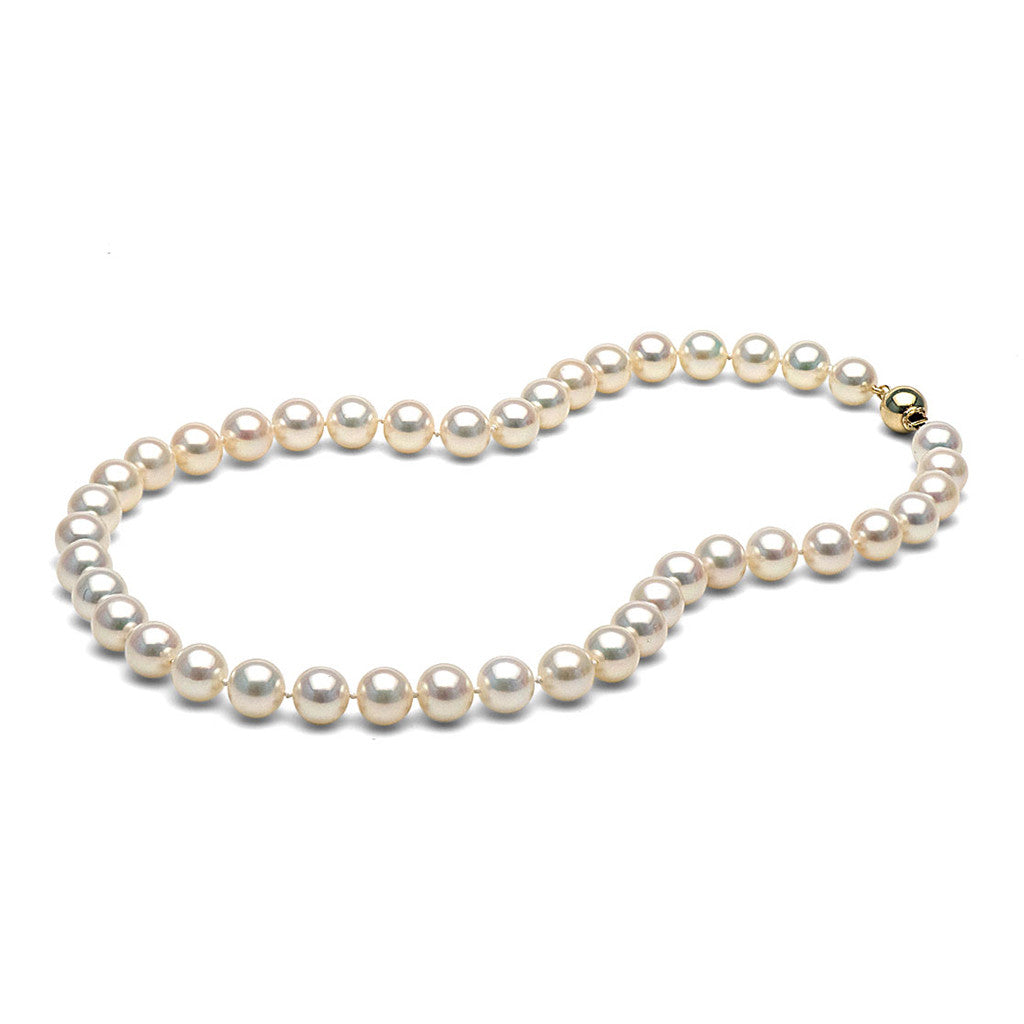 9.0-10.0mm White Freshwater Gem Grade Pearl Necklace
