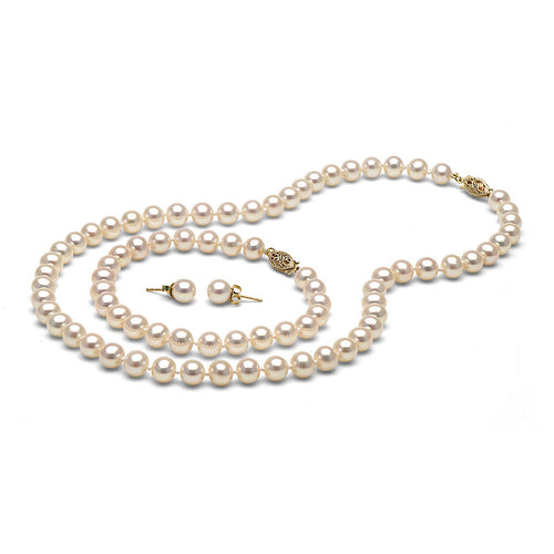AAA Quality White Freshwater Pearl Set, 6.5-7.0mm