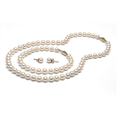 AAA Quality 6.0-7.0mm White Freshwater Orient Pearl Set