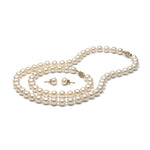 AA+ Quality White Freshwater Pearl Set, 7.5-8.0mm