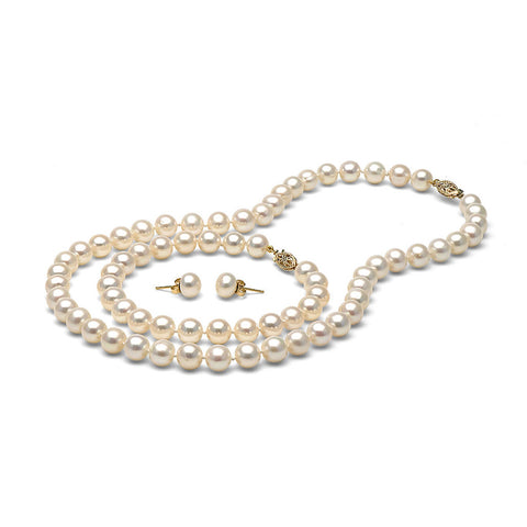 AA+ Quality 7.5-8.0mm White Freshwater Cultured Pearl Set