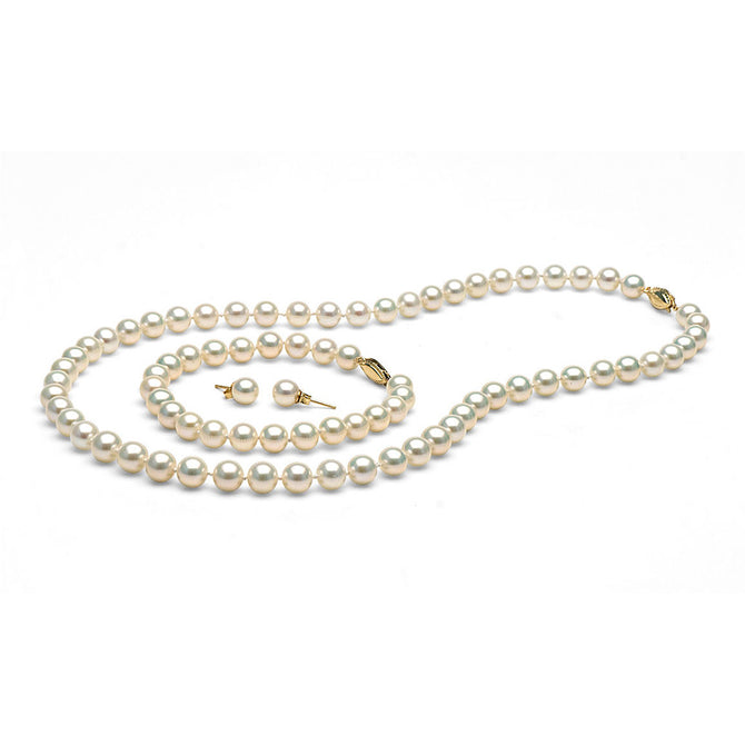 White Freshwater Gem Grade Pearl Set, 7.5-8.0mm