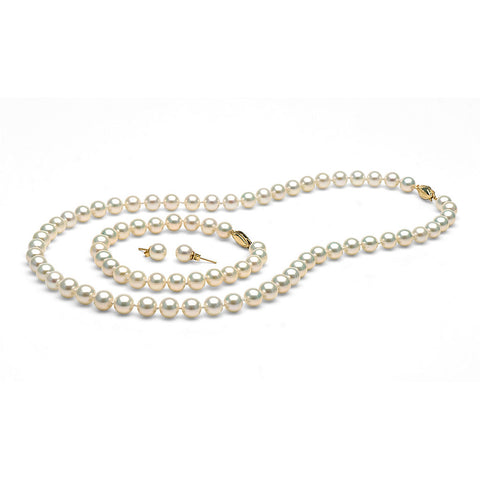 AAA Quality 7.0-8.0mm White  Freshwater Orient Pearl Set