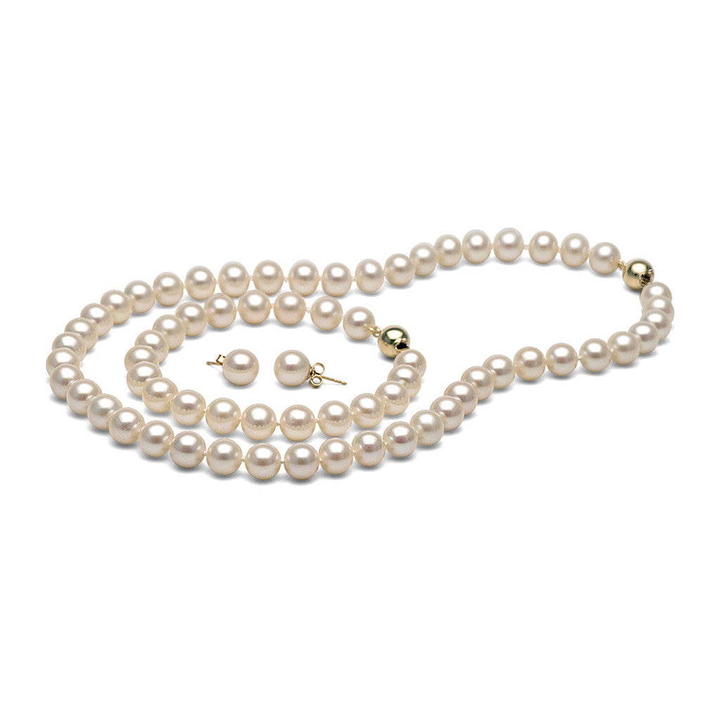 AA+ Quality 8.5-9.0mm White Freshwater Cultured Pearl Set