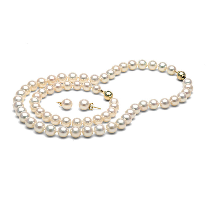 White Freshwater Gem Grade Pearl Set, 8.5-9.0mm