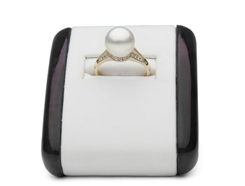 AAA Quality 8.0-10.0mm White South Sea Pearl Ring with Diamonds - Aurora Collection