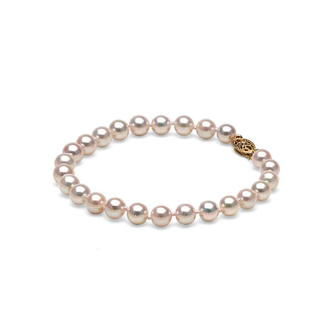 AA+ Quality White Akoya Bracelet, 6.0-6.5mm