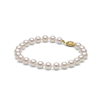 AA+ Quality White Akoya Bracelet, 6.5-7.0mm