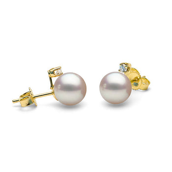 AA+ Quality Diamond Accent White Akoya Pearl Earrings, 6.0-9.5