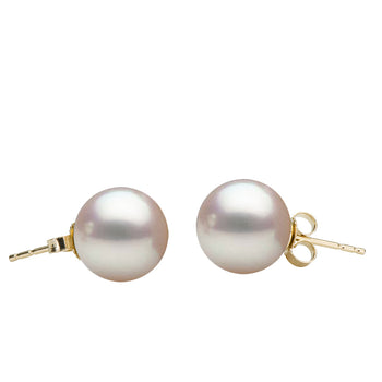 White Akoya Stud Earrings, 6.0-9.5mm