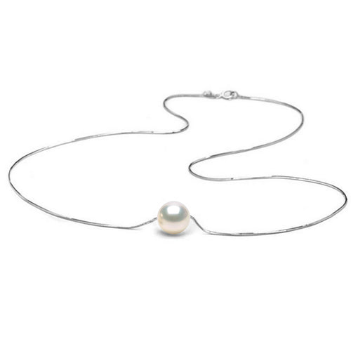 AA+ Quality White Freshwater Solitaire Pearl Pendant, 6.5-11.0mm