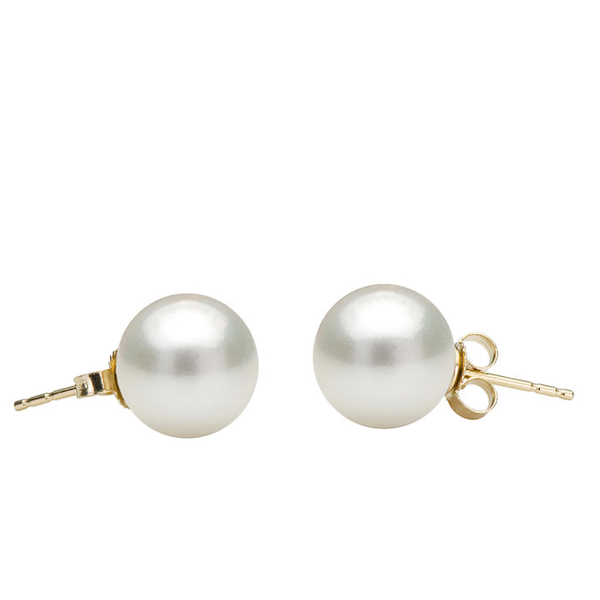 White Freshwater Stud Earrings, 6.5-11.0mm
