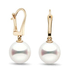 White Akoya Hanadama Dangle  Earrings, 7.0-9.5mm
