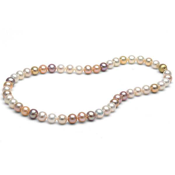 8.0-9.0mm Multi-Color Freshwater Gem Grade Pearl Necklace