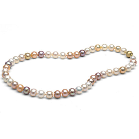 8.0-9.0mm Multicolored Freshwater Gem Grade Pearl Necklace