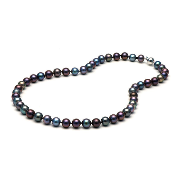 AA+ Quality 8.0-9.0mm Black Freshwater Cultured Pearl Necklace