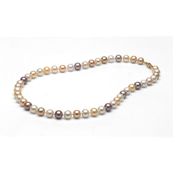 AA+ Quality 7.0-8.0mm Natural Multi-Color Freshwater Cultured Pearl Necklace