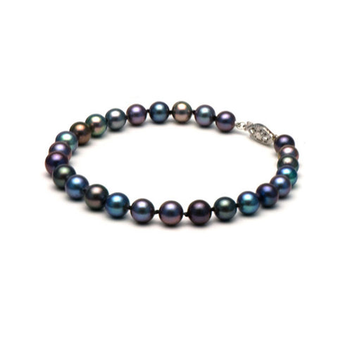AAA Quality 7.5-8.0mm Black Freshwater Cultured Pearl Bracelet
