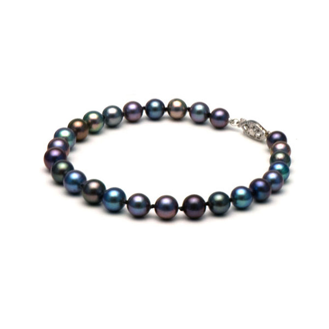 AA+ Quality Black Freshwater Bracelet, 6.5-7.0mm