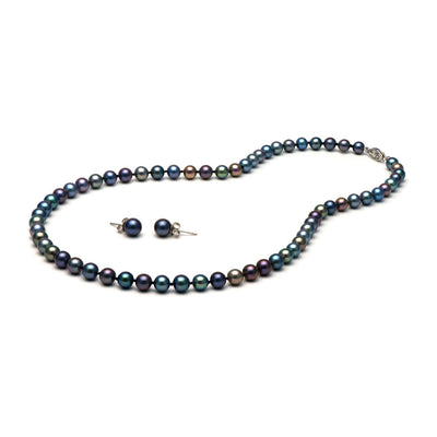 AA+ Quality Black Freshwater Necklace & Earring Set, 6.5-7.0mm