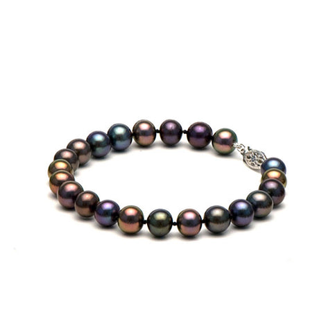 AA+ Quality 7.5-8.0mm Black Freshwater Cultured Pearl Bracelet