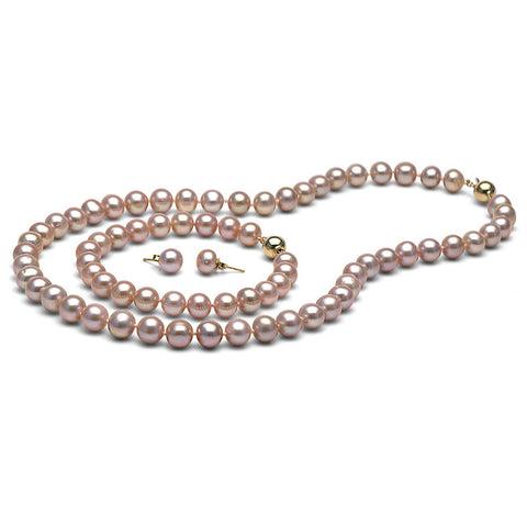 AA+ Quality 8.5-9.0mm Lavender Freshwater Cultured Pearl Set