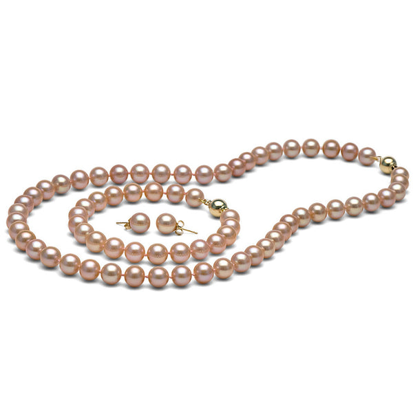 AAA Quality 8.5-9.0mm Pink/Peach Freshwater Cultured Pearl Set