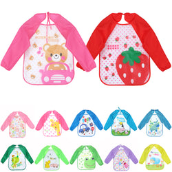 0-3 Years Multi Colors and Cartoon Printed Long Sleeve Baby Feeding Smock ***FREE INSURED SHIPPING.