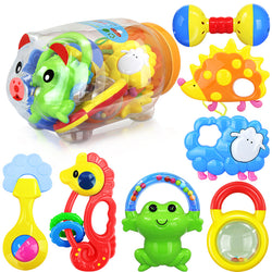 7 Piece Rattles & Teether set in Piggy Tank ***FREE INSURED SHIPPING.
