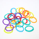 24 Pieces Rainbow Teddy Chain Teether Rings ***FREE INSURED SHIPPING.