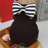 Cute Striped Bow Crochet Knitted Woolen Beanie ***FREE INSURED SHIPPING.