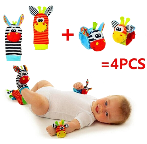 Baby Wrist Rattle and Foot Socks 4 PIECE