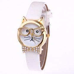 Wristwatch Woman Cute Cat with Glasses