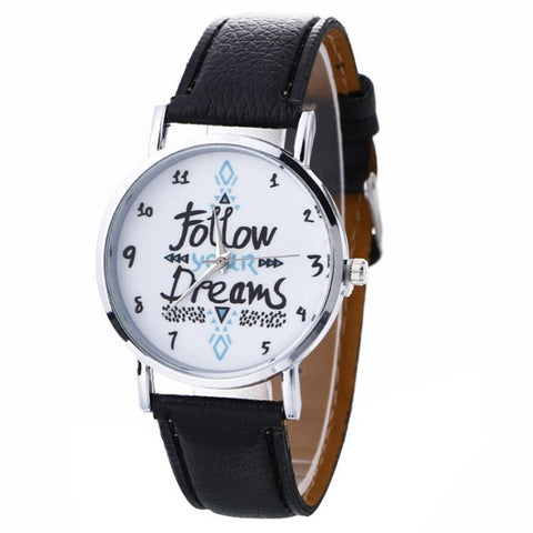 FOLLOW YOUR DREAM Leather Quartz Wrist Watch