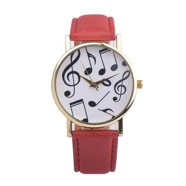 Musical Notes Leather wrist watch