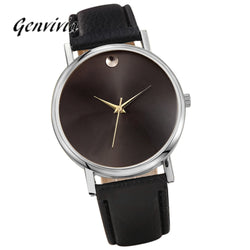 Genvivia Brand New 2017 Fashion watches Womens no number Retro Design Leather Band Analog Alloy Quartz dress watch Wrist Watch