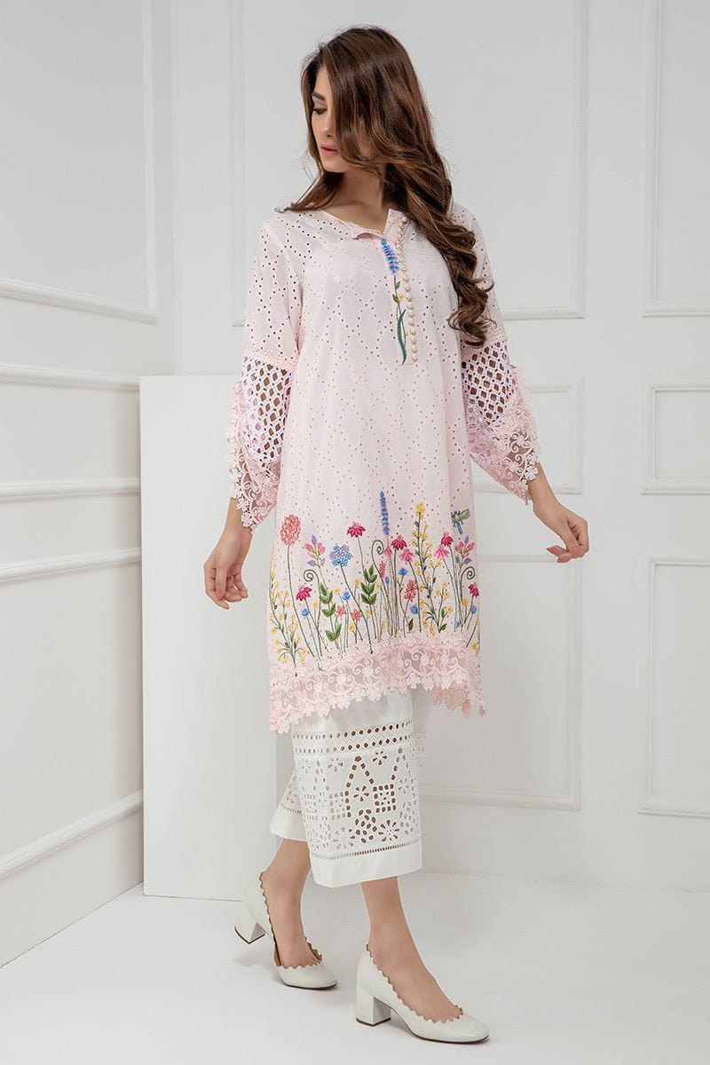 Maria light pink-Shifli Embroided 3pc lawn chicken dress with embroided chiffon dupatta. - gracestore.pk